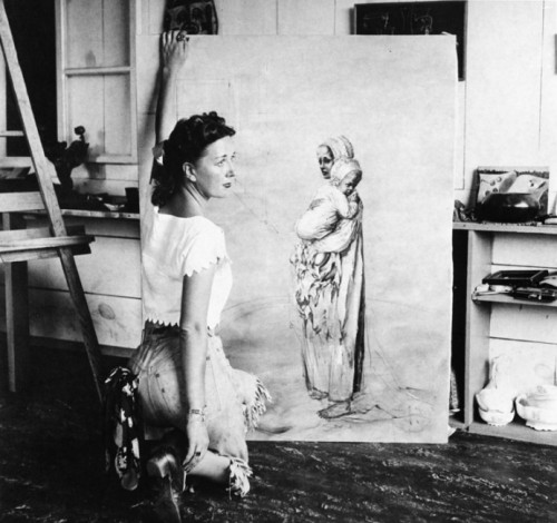 Dorothea Tanning in her studio, Sedona, Arizona